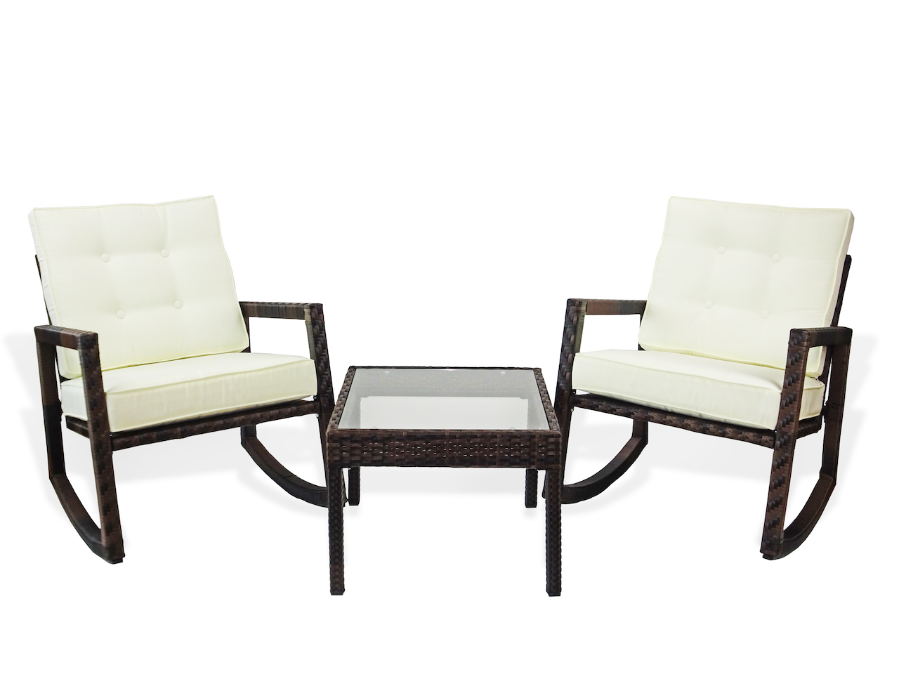 patio 3 pc lounge set rocking chairs and coffee table