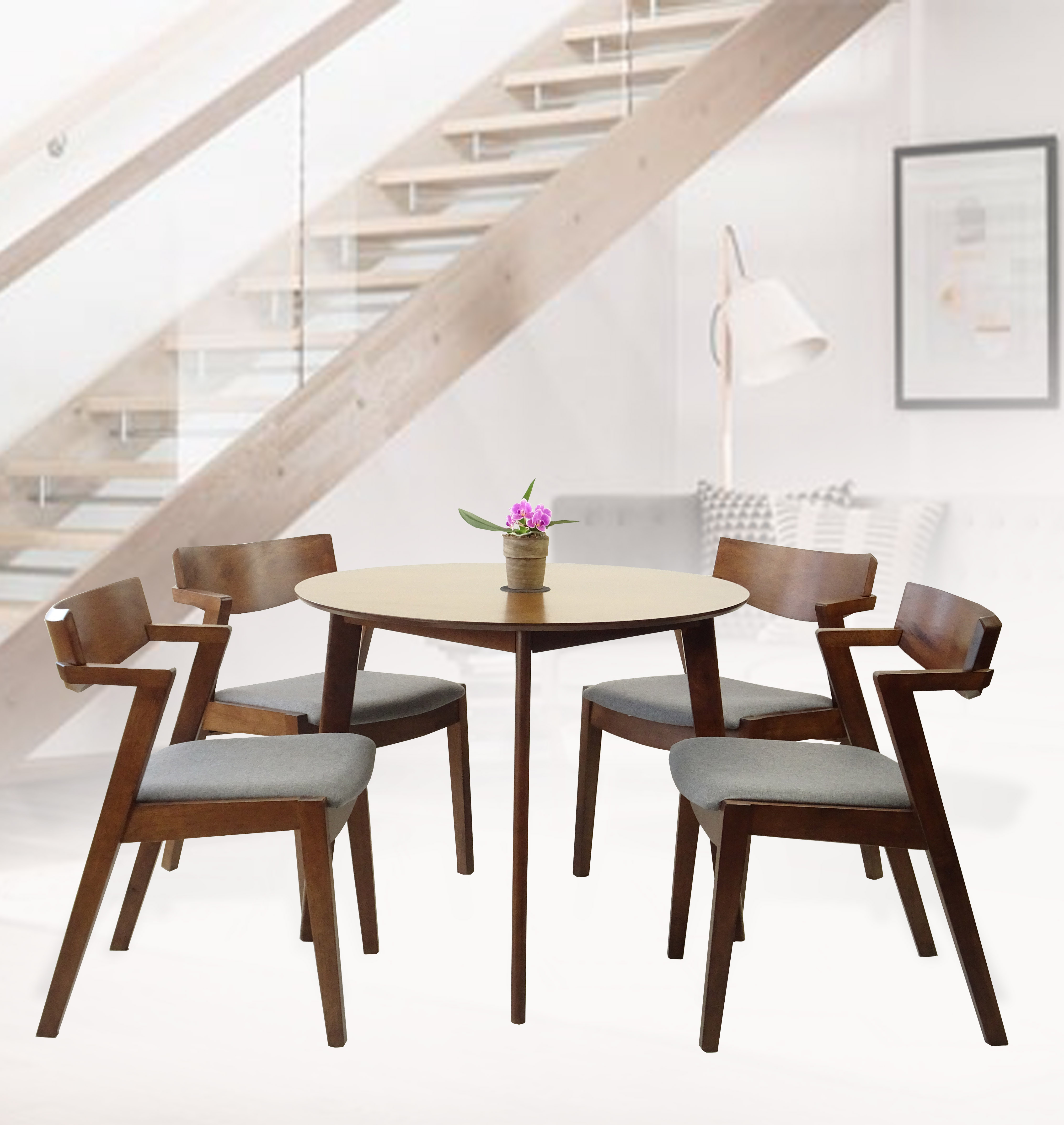 Rattan Wicker Furniture Set of 5 Dining Kitchen Round Table and 4 Tracy  Armchairs Solid Wood w/Padded Seat Medium Brown