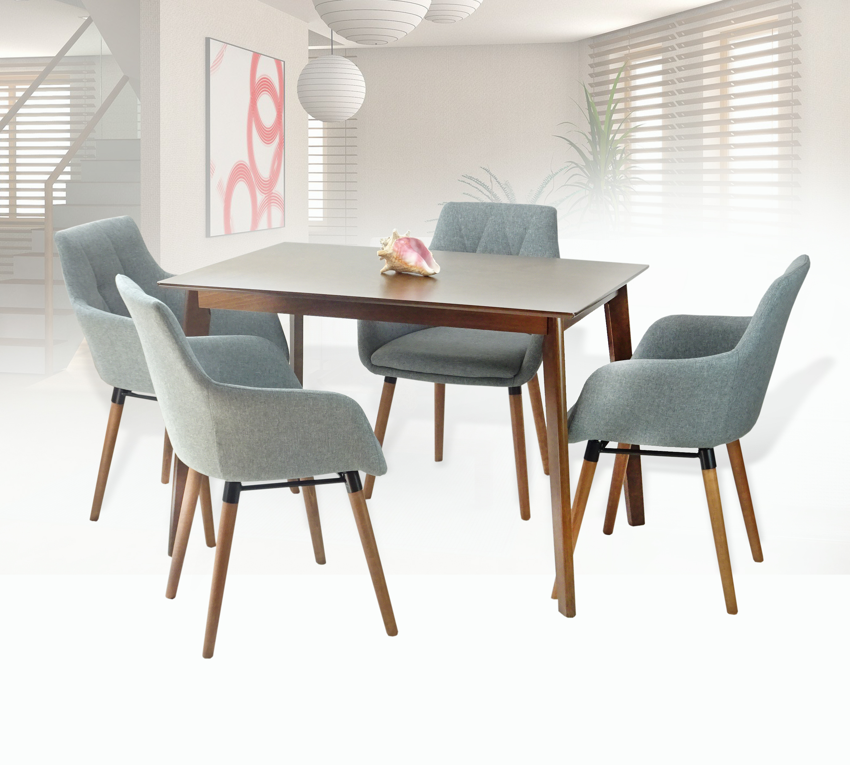 Admirable Dining Kitchen Set Of 5 Rectangular Wooden Brown Table With 4 Alba Armchairs Gray Color Unemploymentrelief Wooden Chair Designs For Living Room Unemploymentrelieforg
