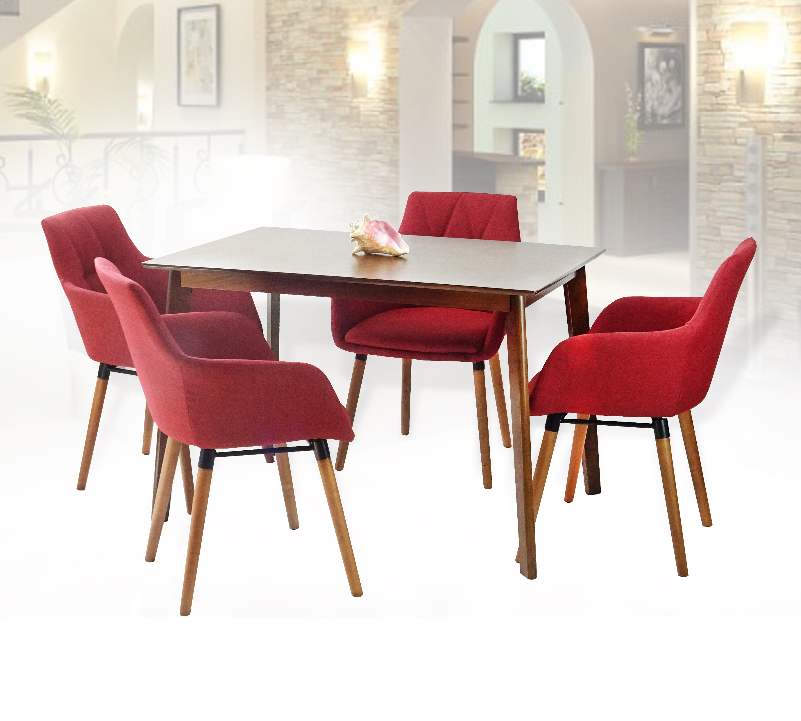 Fine Dining Kitchen Set Of 5 Rectangular Wooden Brown Table With 4 Alba Armchairs Red Color Unemploymentrelief Wooden Chair Designs For Living Room Unemploymentrelieforg