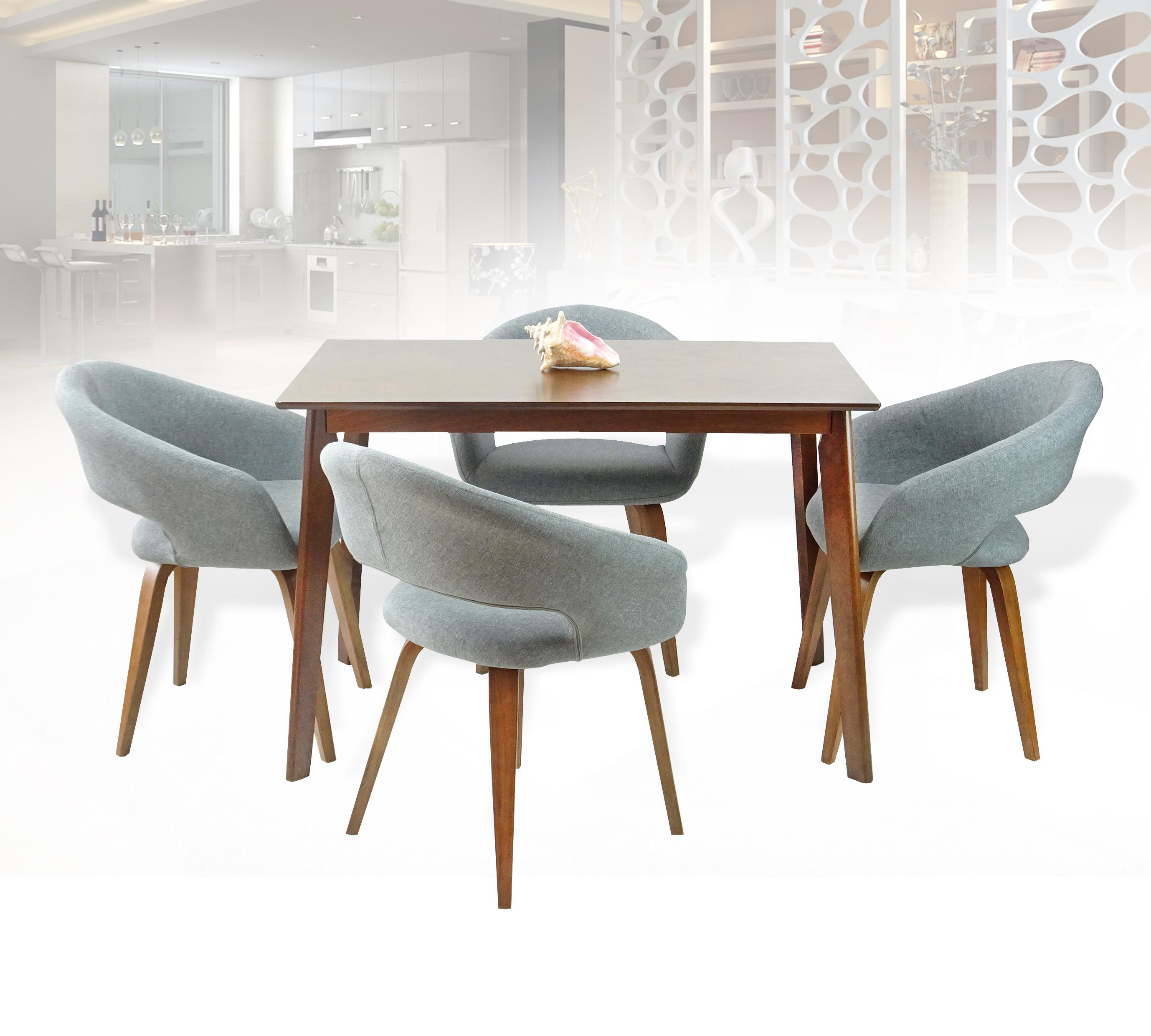 Buy Dining Kitchen Set Of 5 Rectangular Wooden Brown Table