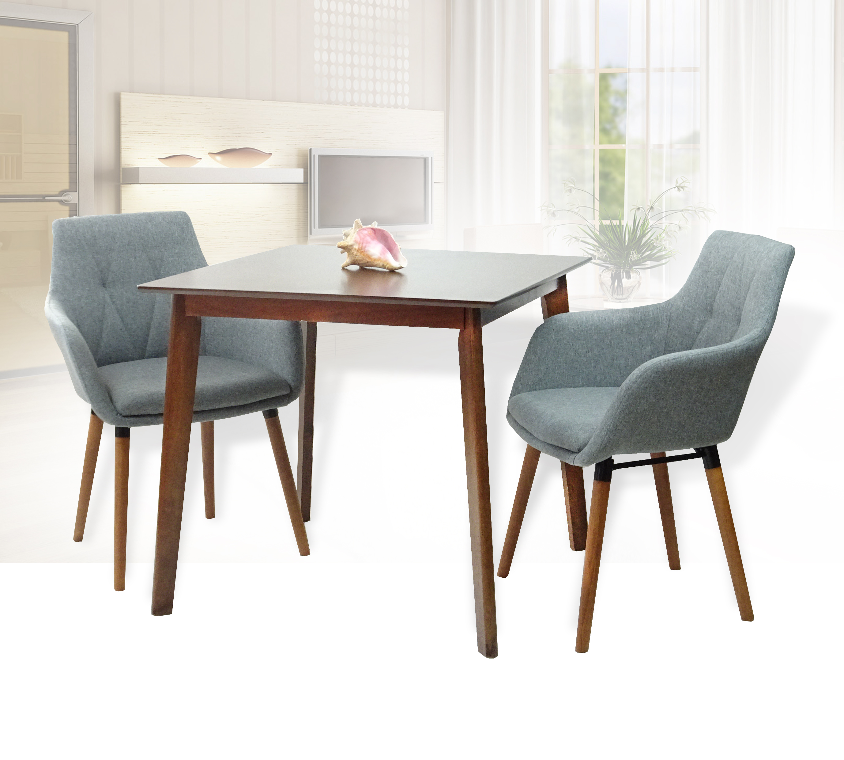 Buy dining kitchen set of 3 square wooden medium brown table with 2 alba armchairs gray color in usa best price free shipping rattan usa