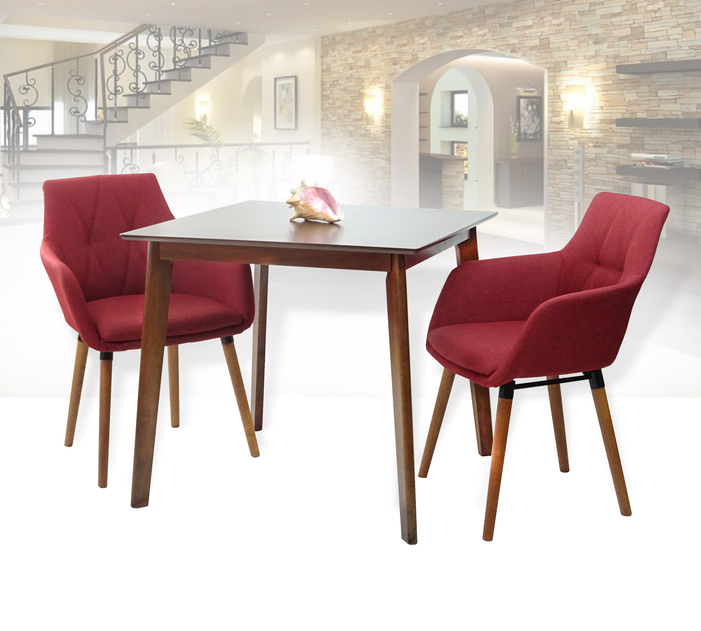 Outstanding Dining Kitchen Set Of 3 Square Wooden Medium Brown Table With 2 Alba Armchairs Red Color Unemploymentrelief Wooden Chair Designs For Living Room Unemploymentrelieforg
