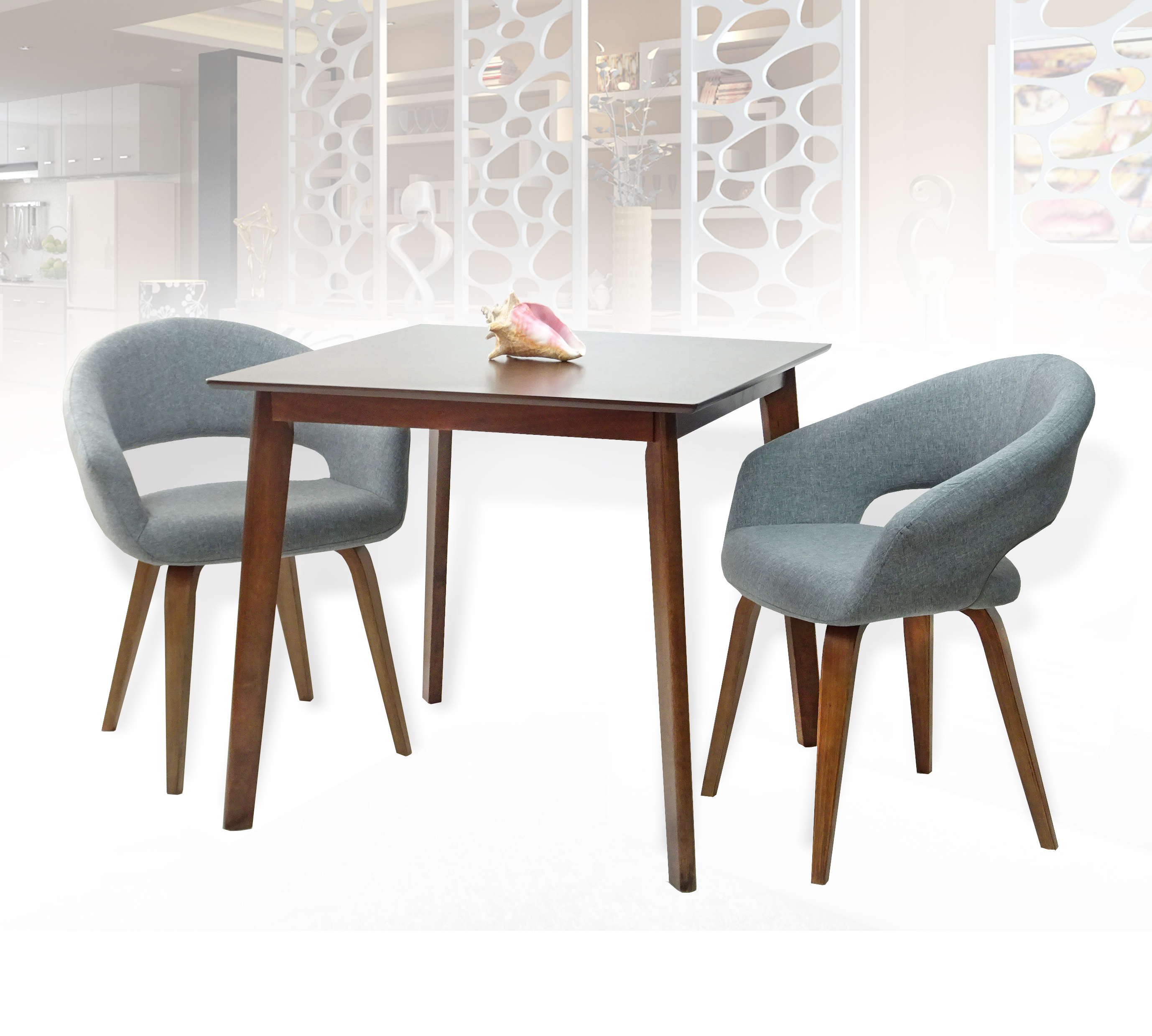Fantastic Dining Kitchen Set Of 3 Square Wooden Medium Brown Table With 2 Lagos Armchairs Light Gray Color Theyellowbook Wood Chair Design Ideas Theyellowbookinfo