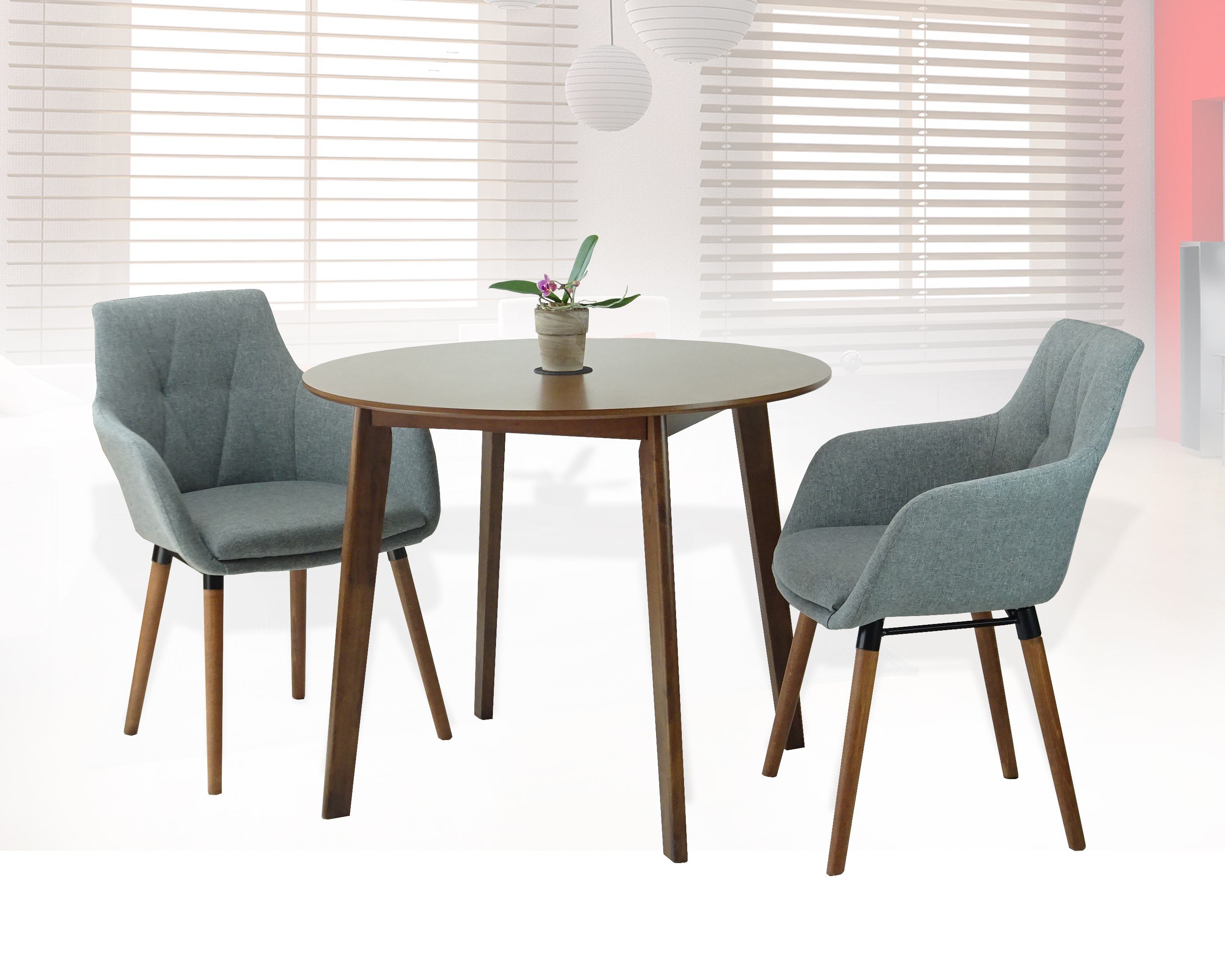Buy Dining Kitchen Set Of 3 Round Wooden Medium Brown Table With 2 Alba Armchairs Gray Color In USA Best Price Free Shipping