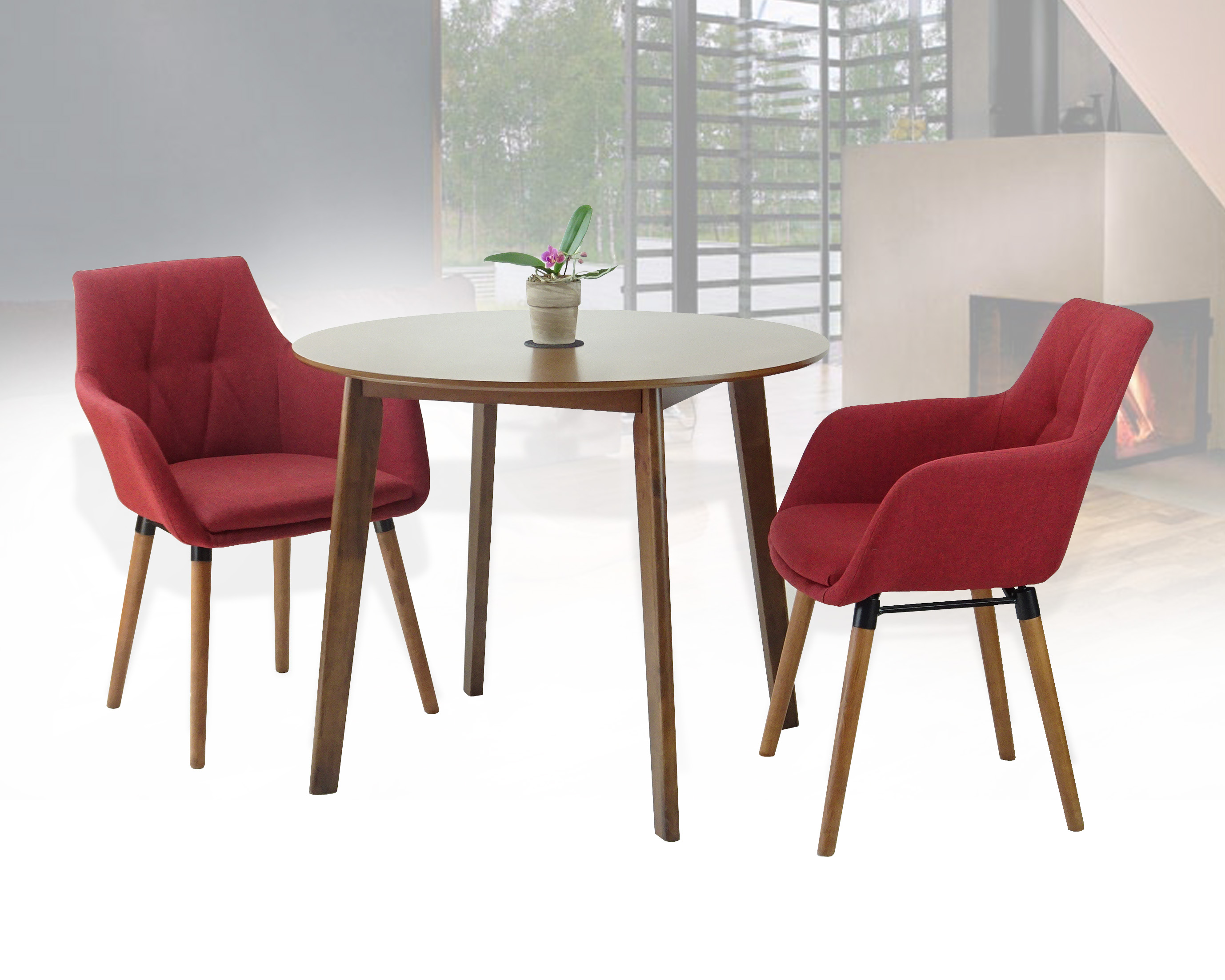 Buy dining kitchen set of 3 round wooden medium brown table with 2 alba armchairs red color in usa best price free shipping rattan usa