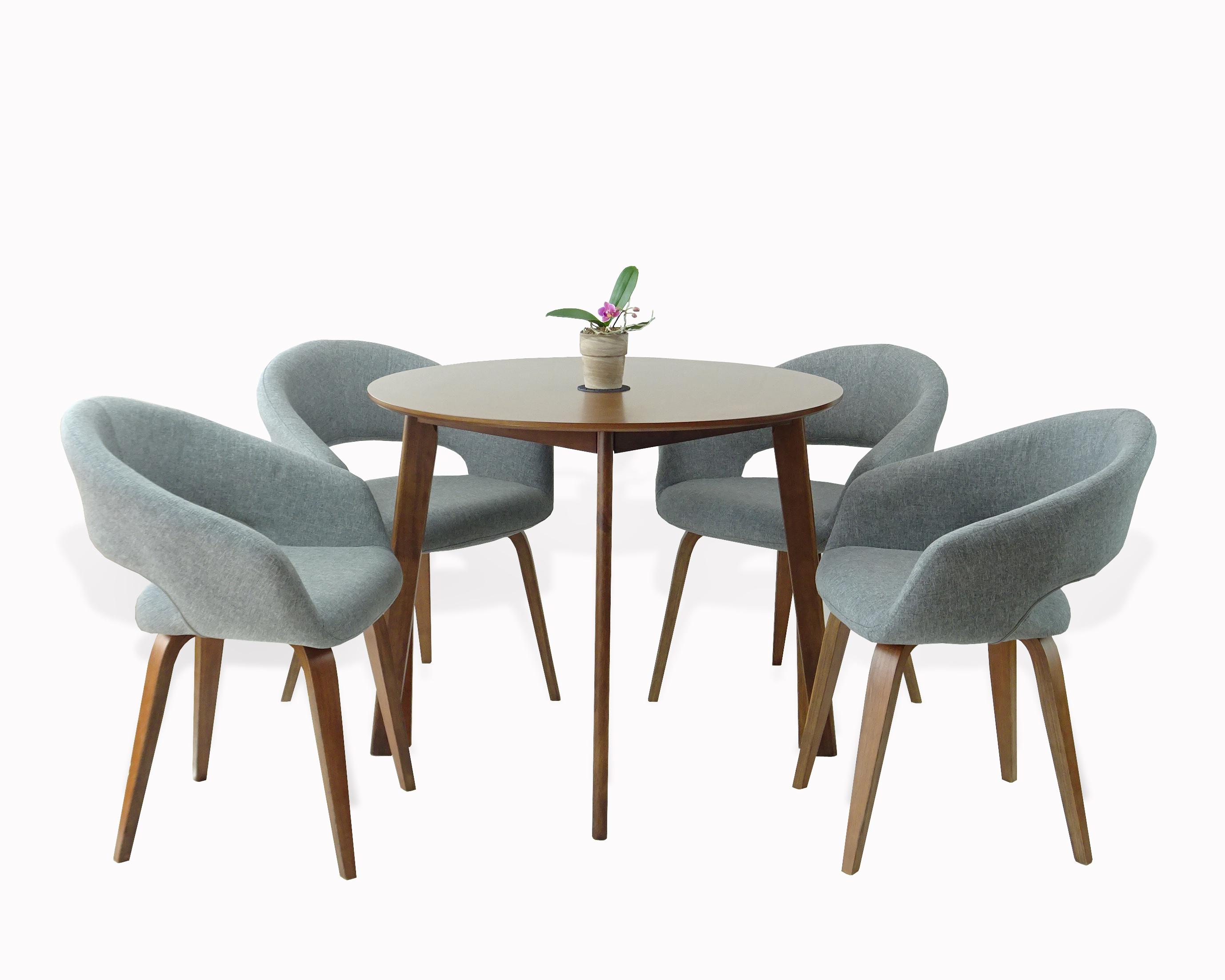 Buy Dining Kitchen Set Of 5 Round Wooden Medium Brown