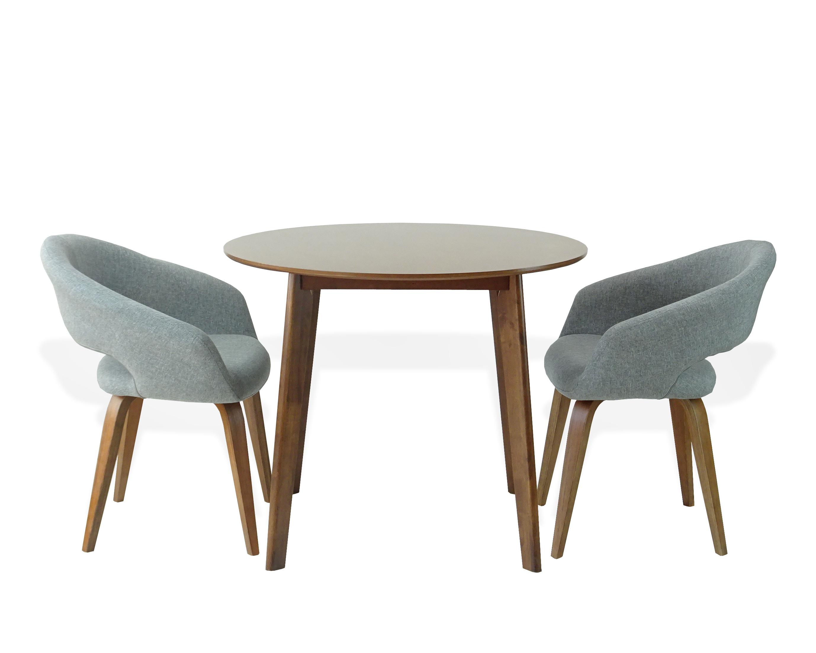 Buy Dining Kitchen Set Of 3 Round Wooden Medium Brown